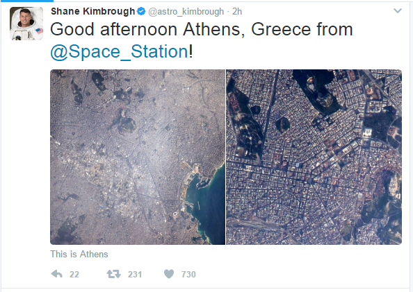 Αστροναύτης ανέβασε φωτογραφίες της Αθήνας από τον Διεθνή Διαστημικό Σταθμό