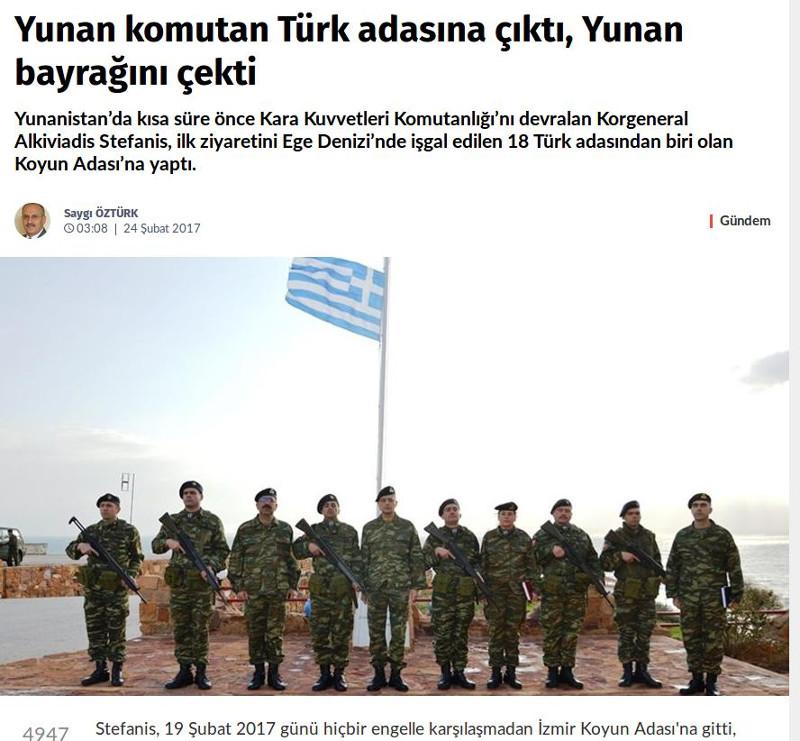 Οι Τούρκοι κατηγορούν τον αρχηγό ΓΕΣ ότι σήκωσε την ελληνική σημαία στις Οινούσσες!