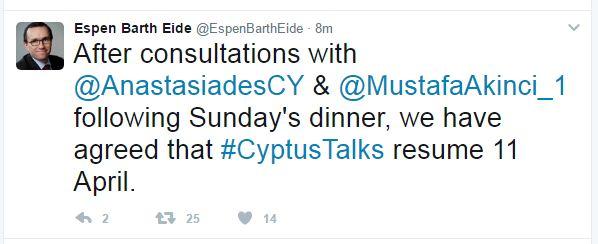 Κυπριακό: Επανέναρξη των συνομιλιών στις 11 Απριλίου αποφάσισαν Αναστασιάδης-Ακιντζί