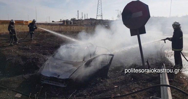 Αυτοκίνητο τυλίχθηκε στις φλόγες έπειτα από τροχαίο στην Εγνατία Οδό