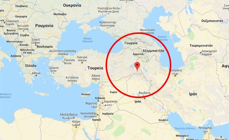 Ο χάρτης δείχνει που ακριβώς βρίσκεται η πόλη Hakkari στην Τουρκία