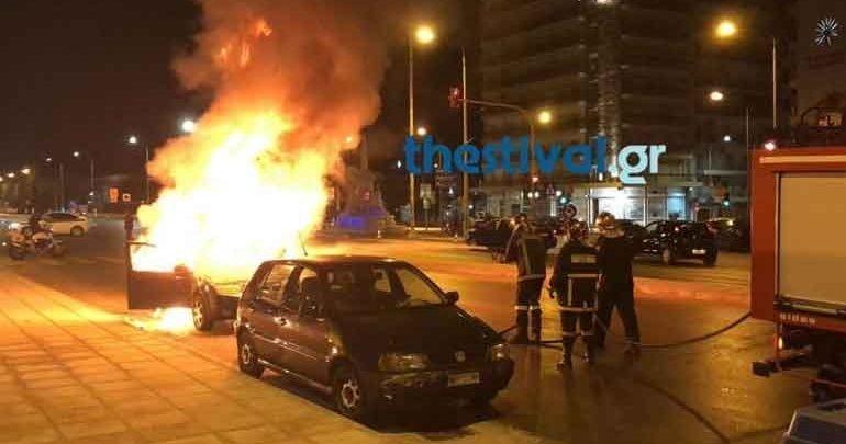 Αυτοκίνητο τυλίχθηκε στις φλόγες εν κινήσει στο Πανόραμα Θεσσαλονίκης