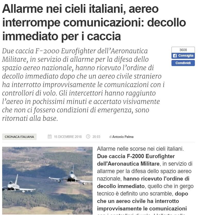 Αεροπλάνο με προορισμό την Κρήτη έθεσε σε συναγερμό την Ιταλική Πολεμική Αεροπορία