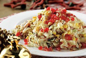 χριστουγεννιάτικη σαλάτα με λάχανο και ρόδι συνταγη γιορτινο τραπεζι