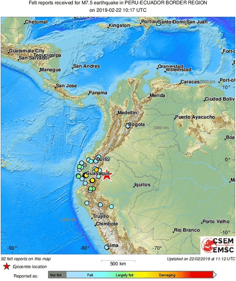 Ισχυρός σεισμός 7,5 Ρίχτερ στα σύνορα Ισημερινού-Περού - Δεν υπάρχουν αναφορές για θύματα ή ζημιές