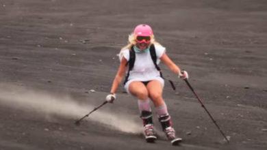 Γυναίκες έκαναν σκι στην Αίτνα