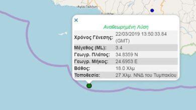 Σεισμική δόνηση νοτιοδυτικά της Κρήτης